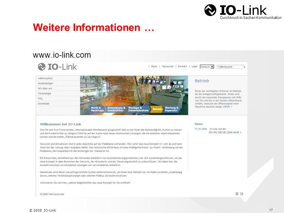 18 © 2008 IO-Link Durchbruch in Sachen Kommunikation