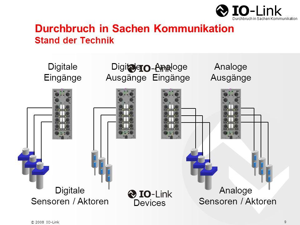 10 © 2008 IO-Link Durchbruch in Sachen Kommunikation IO-Link Kombination von Funktionen Funktionseinheiten Ventil- / Zylinderkombinationen Multiparameter Sensoren