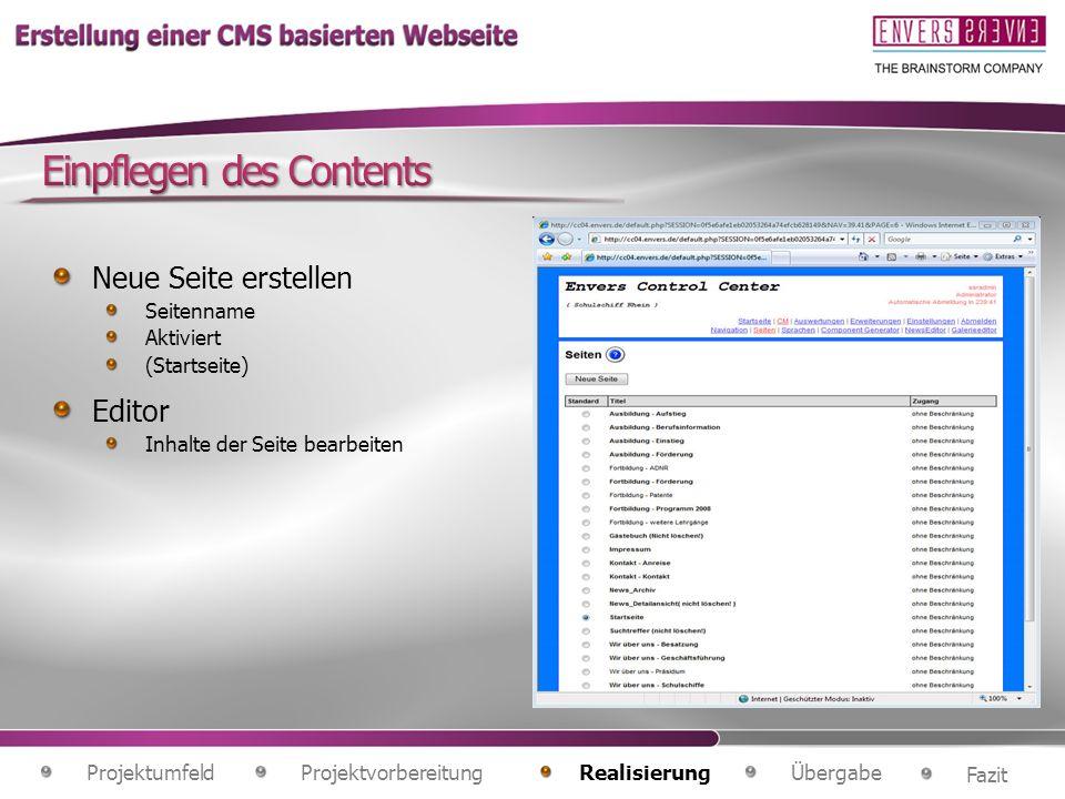 Projektvorbereitung Fazit ÜbergabeRealisierung Projektumfeld Neue Seite erstellen Seitenname Aktiviert (Startseite) Editor Inhalte der Seite bearbeiten