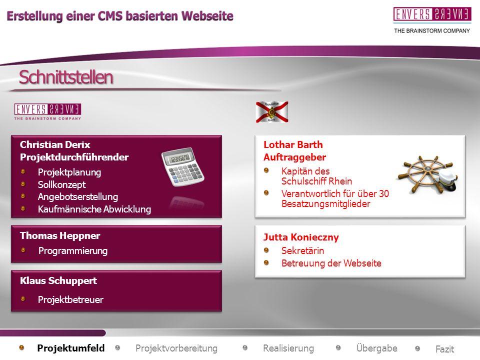 Projektplanung Sollkonzept Angebotserstellung Kaufmännische Abwicklung Christian Derix Projektdurchführender Thomas Heppner Klaus Schuppert Programmie