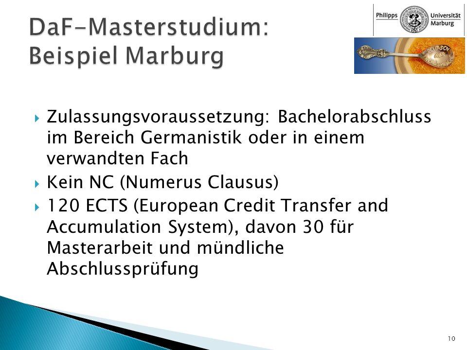 Zulassungsvoraussetzung: Bachelorabschluss im Bereich Germanistik oder in einem verwandten Fach Kein NC (Numerus Clausus) 120 ECTS (European Credit Tr