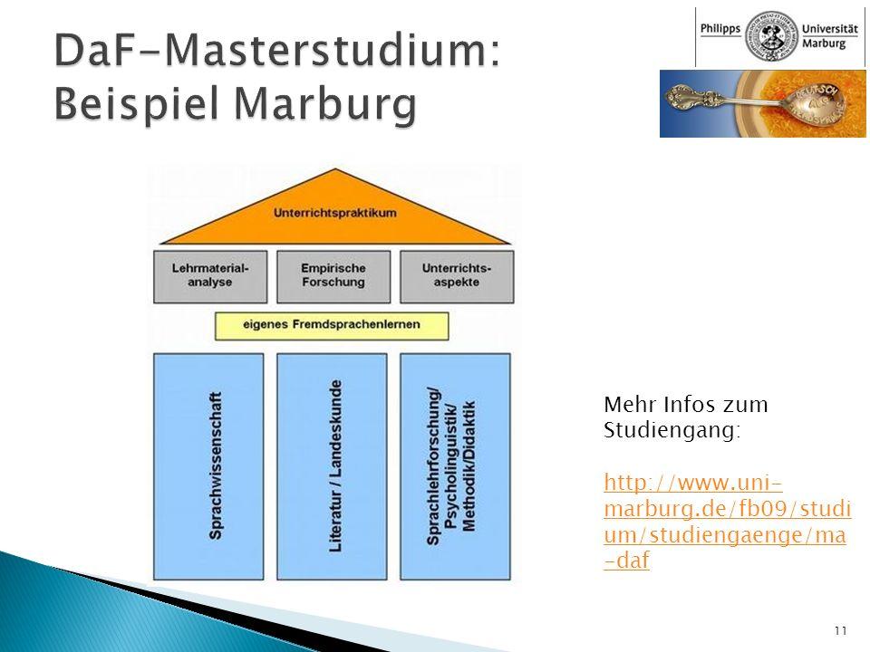 11 Mehr Infos zum Studiengang: http://www.uni- marburg.de/fb09/studi um/studiengaenge/ma -daf