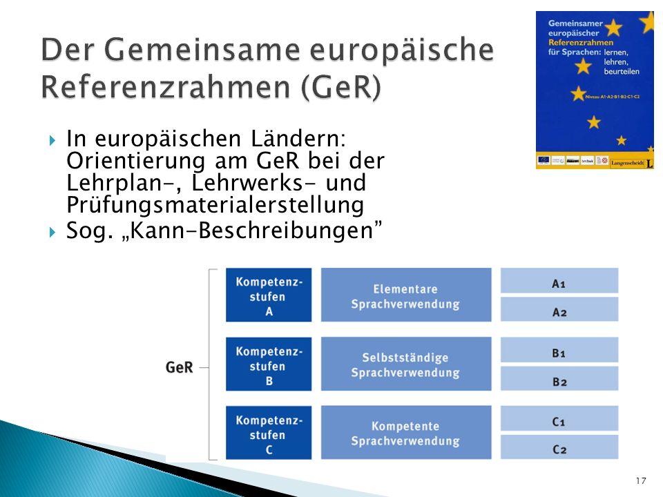 In europäischen Ländern: Orientierung am GeR bei der Lehrplan-, Lehrwerks- und Prüfungsmaterialerstellung Sog. Kann-Beschreibungen 17