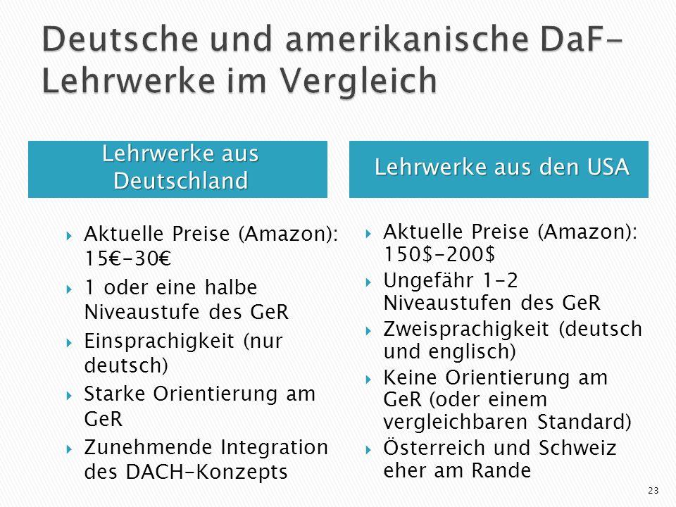 Lehrwerke aus Deutschland Lehrwerke aus den USA Aktuelle Preise (Amazon): 150$-200$ Ungefähr 1-2 Niveaustufen des GeR Zweisprachigkeit (deutsch und englisch) Keine Orientierung am GeR (oder einem vergleichbaren Standard) Österreich und Schweiz eher am Rande 23 Aktuelle Preise (Amazon): 15-30 1 oder eine halbe Niveaustufe des GeR Einsprachigkeit (nur deutsch) Starke Orientierung am GeR Zunehmende Integration des DACH-Konzepts