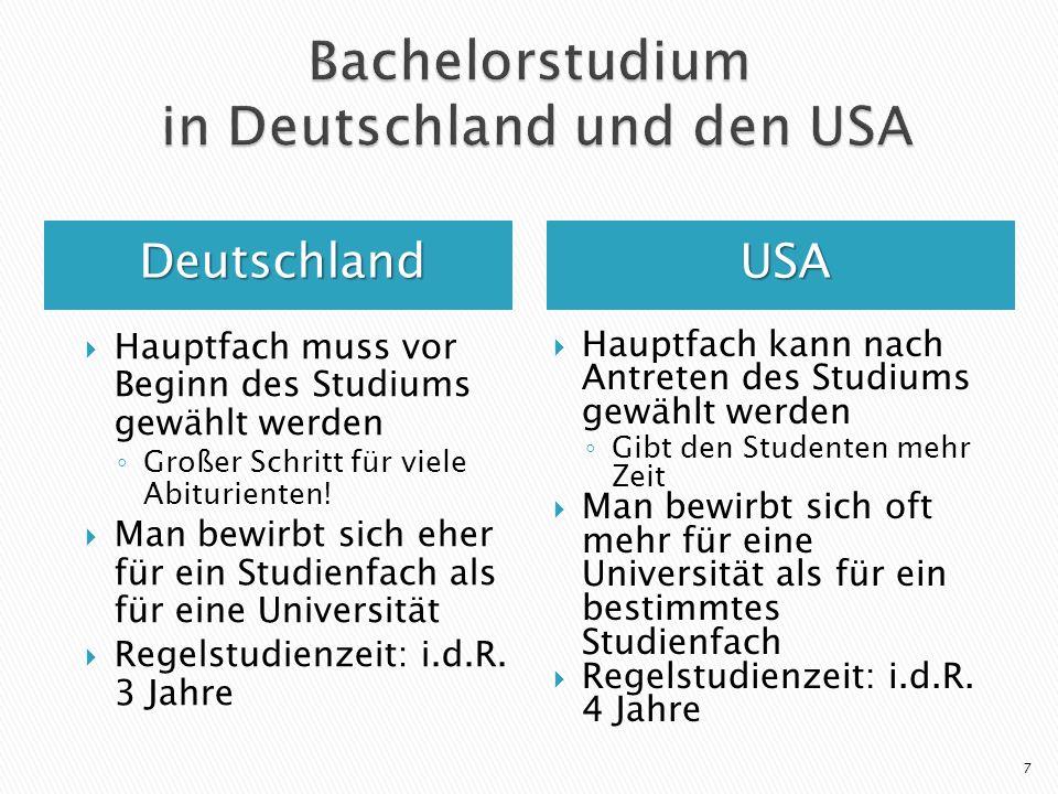 DeutschlandUSA Hauptfach muss vor Beginn des Studiums gewählt werden Großer Schritt für viele Abiturienten! Man bewirbt sich eher für ein Studienfach