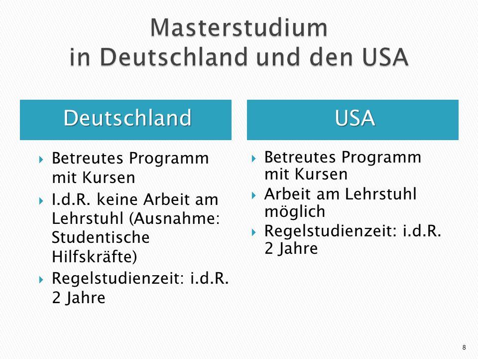 DeutschlandUSA Betreutes Programm mit Kursen I.d.R. keine Arbeit am Lehrstuhl (Ausnahme: Studentische Hilfskräfte) Regelstudienzeit: i.d.R. 2 Jahre Be