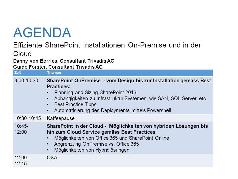 AGENDA Effiziente SharePoint Installationen On-Premise und in der Cloud Danny von Borries, Consultant Trivadis AG Guido Forster, Consultant Trivadis A
