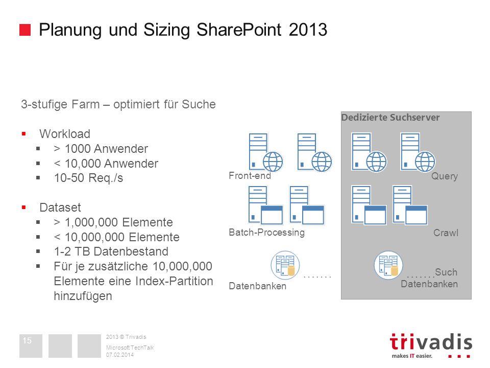 2013 © Trivadis Planung und Sizing SharePoint 2013 07.02.2014 Microsoft TechTalk 15 Front-end 3-stufige Farm – optimiert für Suche Workload > 1000 Anw