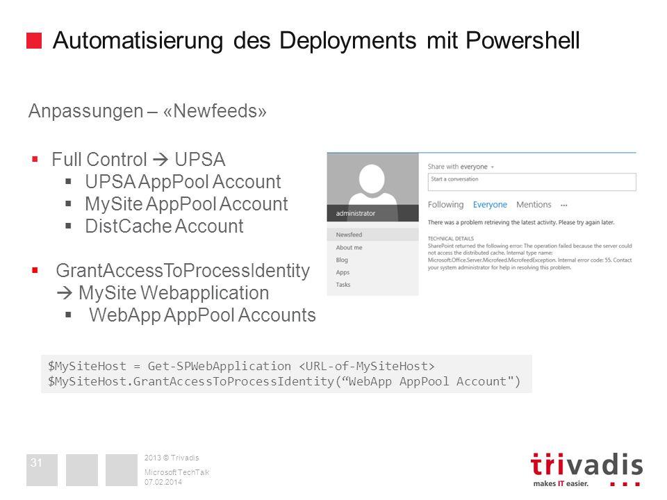 2013 © Trivadis Automatisierung des Deployments mit Powershell 07.02.2014 Microsoft TechTalk 31 Anpassungen – «Newfeeds» Full Control UPSA UPSA AppPoo