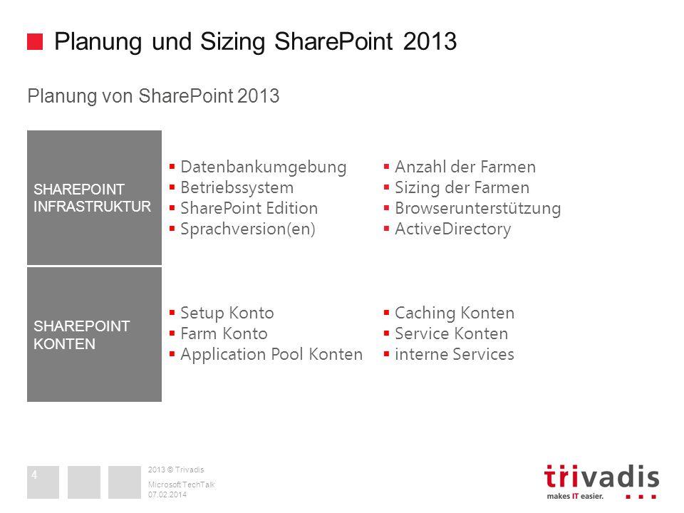 2013 © Trivadis Planung und Sizing SharePoint 2013 Planung von SharePoint 2013 07.02.2014 Microsoft TechTalk 4 Datenbankumgebung Betriebssystem ShareP