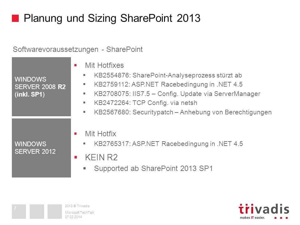 2013 © Trivadis Planung und Sizing SharePoint 2013 07.02.2014 Microsoft TechTalk 7 Softwarevoraussetzungen - SharePoint Mit Hotfixes KB2554876: ShareP