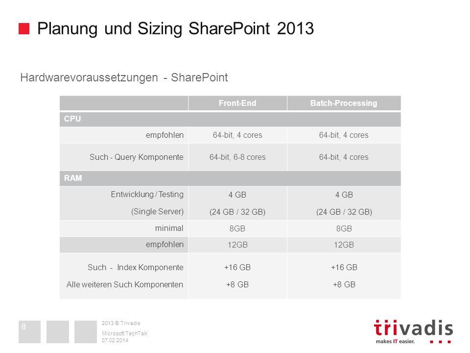 2013 © Trivadis Planung und Sizing SharePoint 2013 07.02.2014 Microsoft TechTalk 8 Hardwarevoraussetzungen - SharePoint Front-EndBatch-Processing CPU
