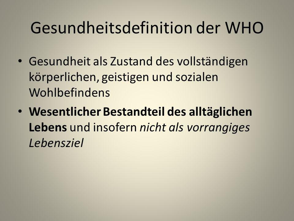 Gesundheitsdefinition der WHO Gesundheit als Zustand des vollständigen körperlichen, geistigen und sozialen Wohlbefindens Wesentlicher Bestandteil des alltäglichen Lebens und insofern nicht als vorrangiges Lebensziel