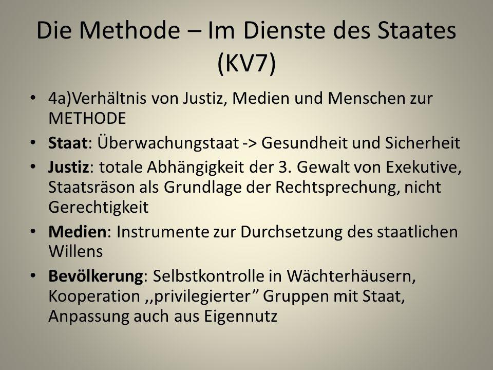 Die Methode – Im Dienste des Staates (KV7) 4a)Verhältnis von Justiz, Medien und Menschen zur METHODE Staat: Überwachungstaat -> Gesundheit und Sicherheit Justiz: totale Abhängigkeit der 3.