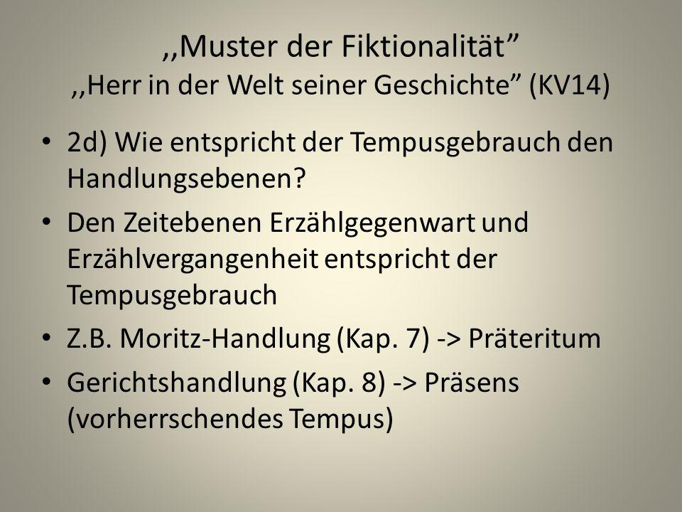 ,,Muster der Fiktionalität,,Herr in der Welt seiner Geschichte (KV14) 2d) Wie entspricht der Tempusgebrauch den Handlungsebenen.