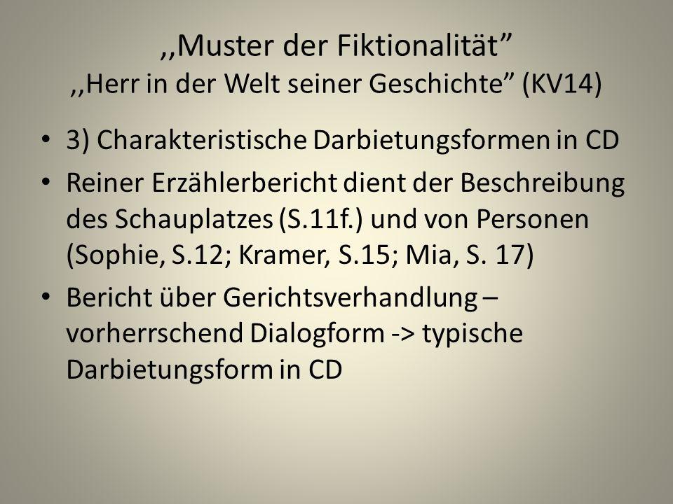 ,,Muster der Fiktionalität,,Herr in der Welt seiner Geschichte (KV14) 3) Charakteristische Darbietungsformen in CD Reiner Erzählerbericht dient der Beschreibung des Schauplatzes (S.11f.) und von Personen (Sophie, S.12; Kramer, S.15; Mia, S.