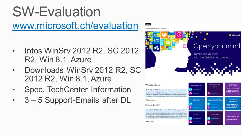 SW-Evaluation www.microsoft.ch/evaluation Infos WinSrv 2012 R2, SC 2012 R2, Win 8.1, Azure Downloads WinSrv 2012 R2, SC 2012 R2, Win 8.1, Azure Spec.