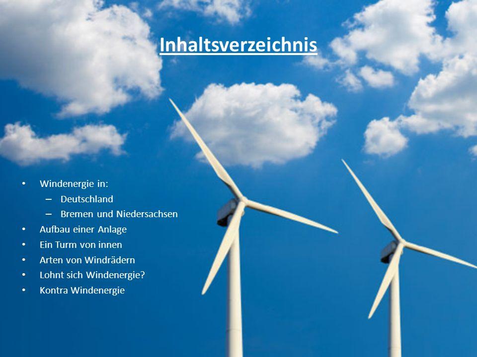 Inhaltsverzeichnis Windenergie in: – Deutschland – Bremen und Niedersachsen Aufbau einer Anlage Ein Turm von innen Arten von Windrädern Lohnt sich Windenergie.