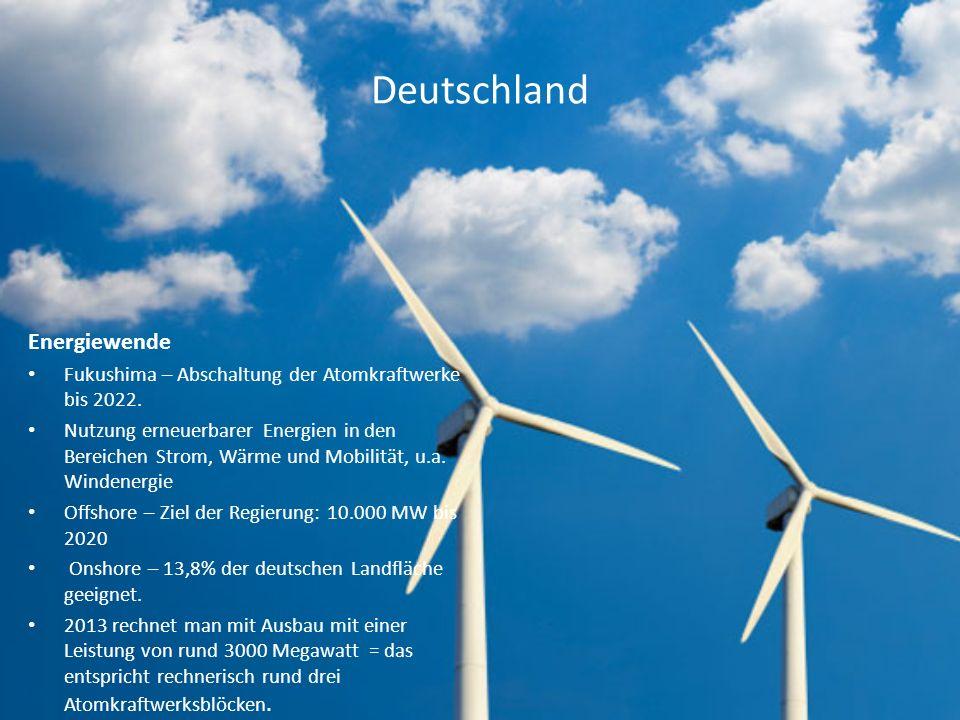 Deutschland Energiewende Fukushima – Abschaltung der Atomkraftwerke bis 2022. Nutzung erneuerbarer Energien in den Bereichen Strom, Wärme und Mobilitä