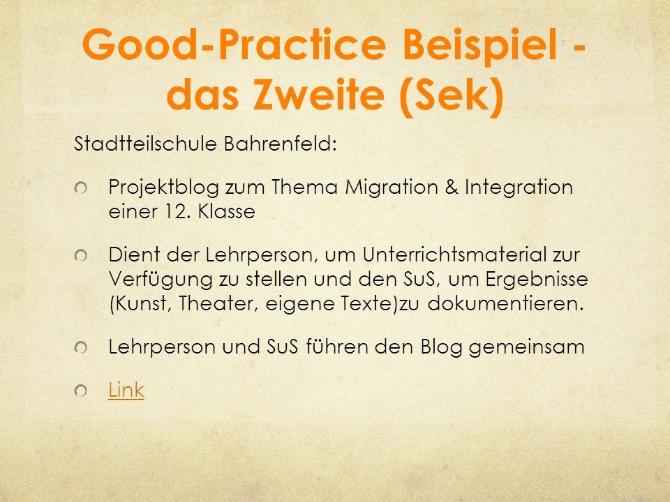 Good-Practice Beispiel - das Zweite (Sek) Stadtteilschule Bahrenfeld: Projektblog zum Thema Migration & Integration einer 12. Klasse Dient der Lehrper
