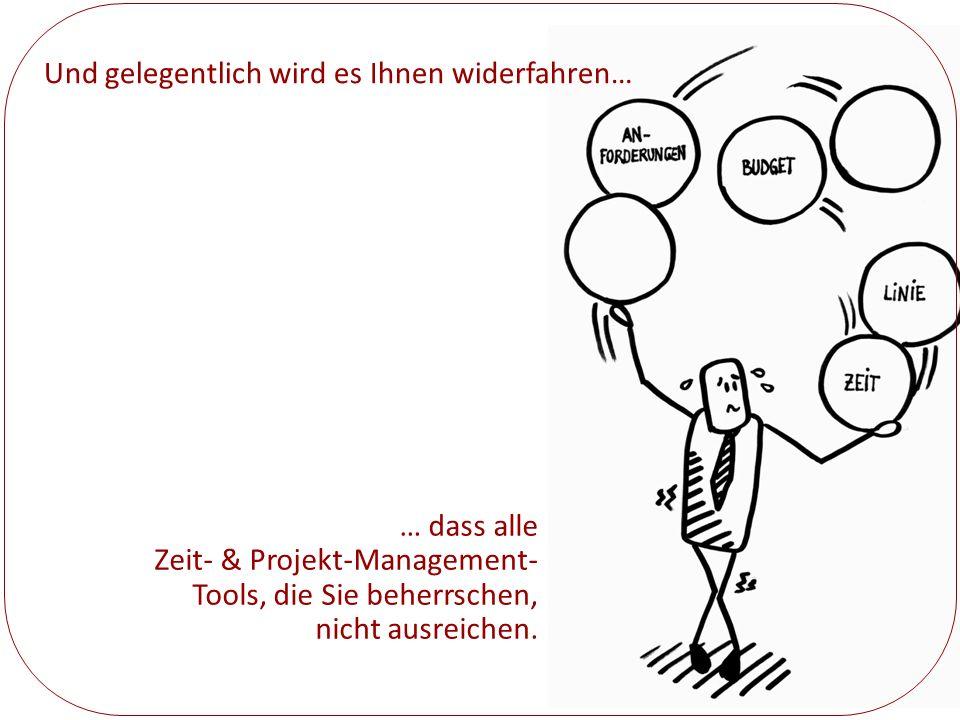 Und gelegentlich wird es Ihnen widerfahren… … dass alle Zeit- & Projekt-Management- Tools, die Sie beherrschen, nicht ausreichen.