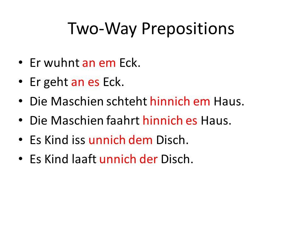 Iewing - Practice Die Schulsack legt uff ___ (the) Bett (n).