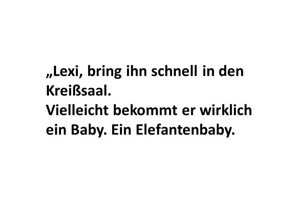 Lexi, bring ihn schnell in den Kreißsaal. Vielleicht bekommt er wirklich ein Baby. Ein Elefantenbaby.
