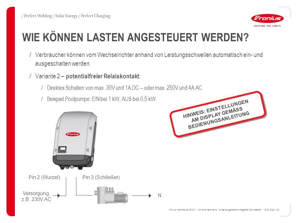 N Versorgung, z.B. 230V AC / Verbraucher können vom Wechselrichter anhand von Leistungsschwellen automatisch ein- und ausgeschalten werden / Variante