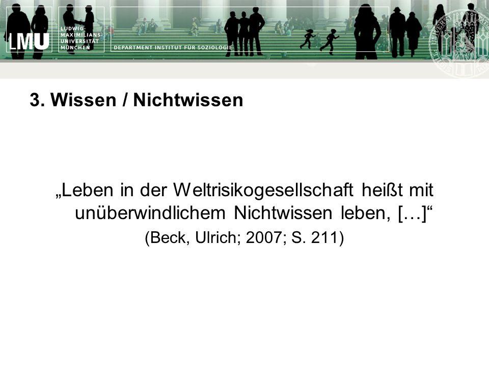 3. Wissen / Nichtwissen Leben in der Weltrisikogesellschaft heißt mit unüberwindlichem Nichtwissen leben, […] (Beck, Ulrich; 2007; S. 211)