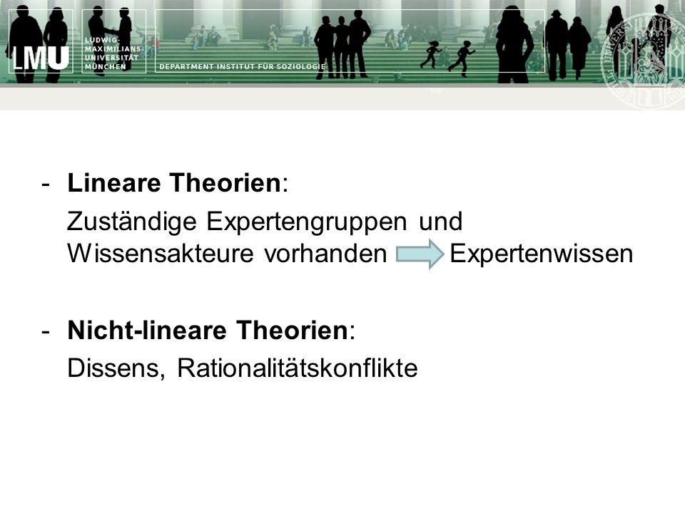 -Lineare Theorien: Zuständige Expertengruppen und Wissensakteure vorhanden Expertenwissen -Nicht-lineare Theorien: Dissens, Rationalitätskonflikte
