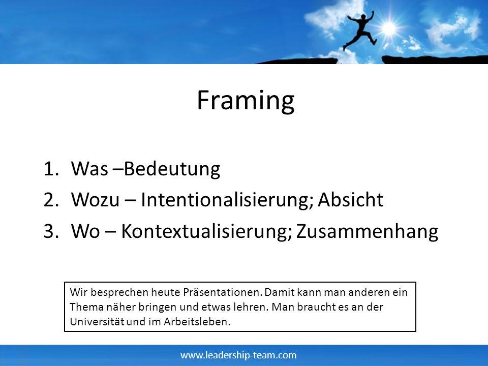 www.leadership-team.com Framing 1.Was –Bedeutung 2.Wozu – Intentionalisierung; Absicht 3.Wo – Kontextualisierung; Zusammenhang Wir besprechen heute Pr