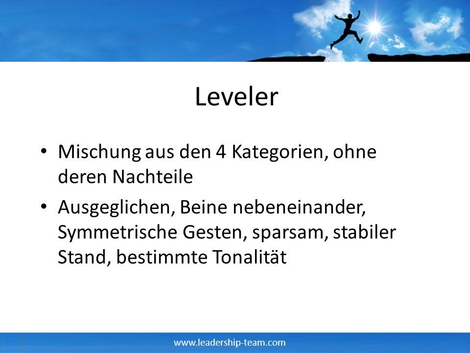 www.leadership-team.com Leveler Mischung aus den 4 Kategorien, ohne deren Nachteile Ausgeglichen, Beine nebeneinander, Symmetrische Gesten, sparsam, s