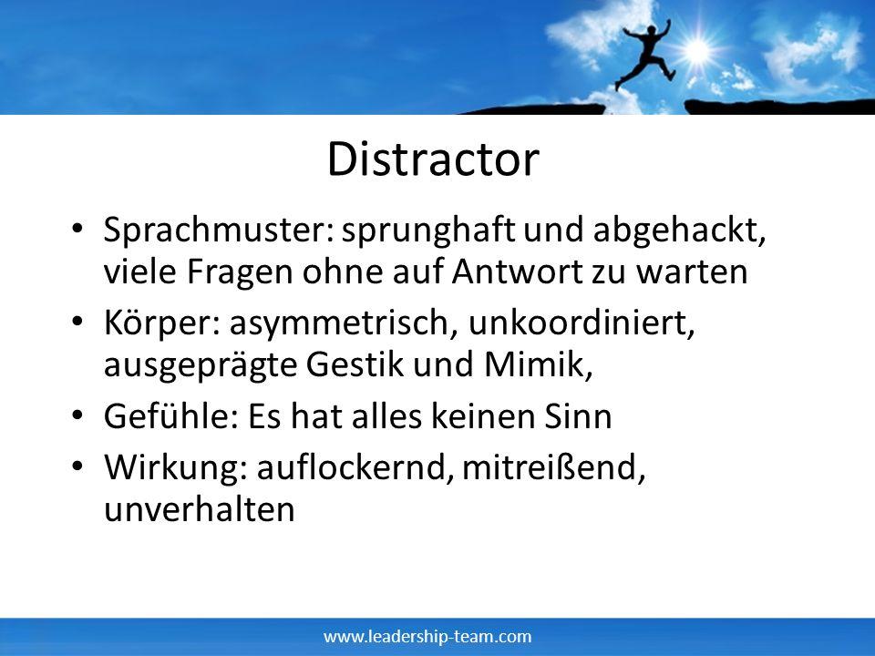 www.leadership-team.com Distractor Sprachmuster: sprunghaft und abgehackt, viele Fragen ohne auf Antwort zu warten Körper: asymmetrisch, unkoordiniert