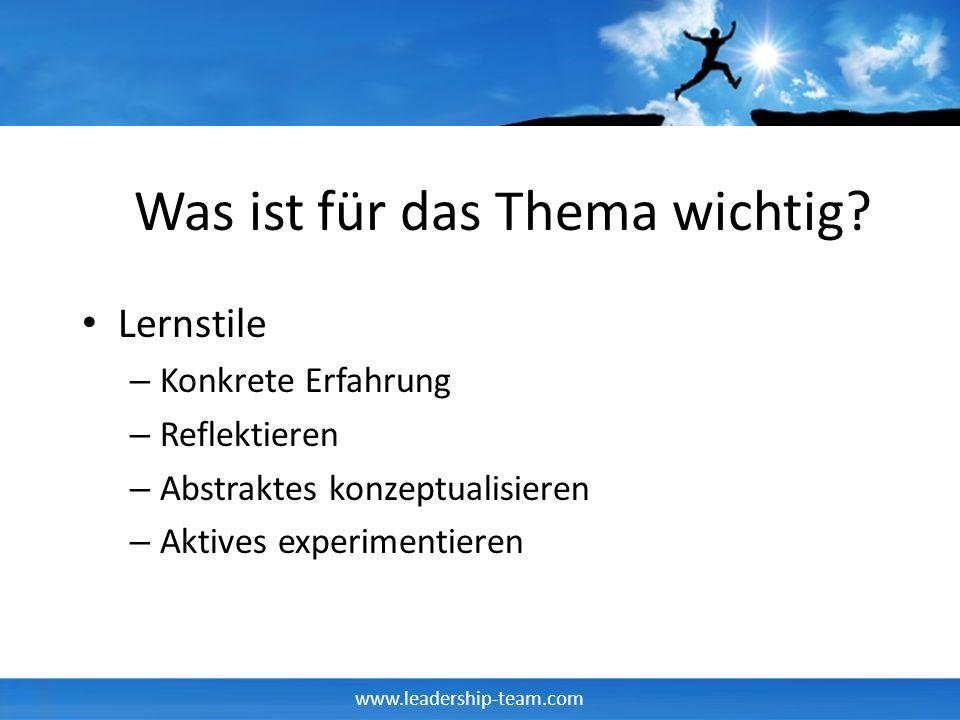 www.leadership-team.com Die Lerntypen Konkrete Erfahrung Reflektierendes Beobachten Aktives Erproben Abstrakte Begriffsbildung