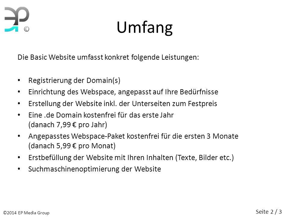 Umfang Die Basic Website umfasst konkret folgende Leistungen: Registrierung der Domain(s) Einrichtung des Webspace, angepasst auf Ihre Bedürfnisse Ers