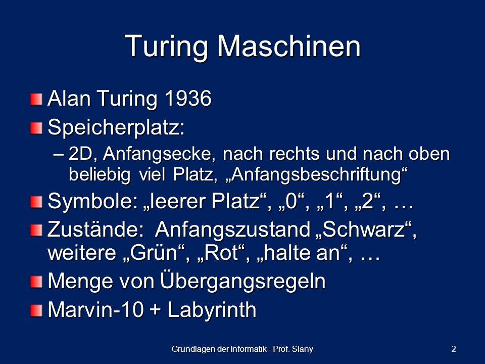 Grundlagen der Informatik - Prof. Slany 2 Turing Maschinen Alan Turing 1936 Speicherplatz: –2D, Anfangsecke, nach rechts und nach oben beliebig viel P