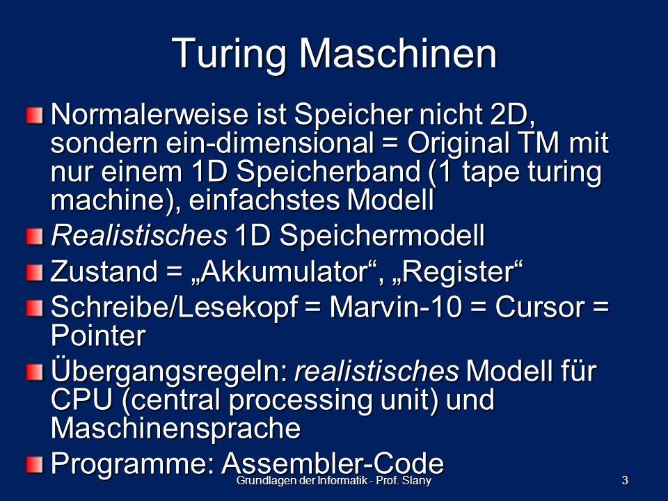 Normalerweise ist Speicher nicht 2D, sondern ein-dimensional = Original TM mit nur einem 1D Speicherband (1 tape turing machine), einfachstes Modell R
