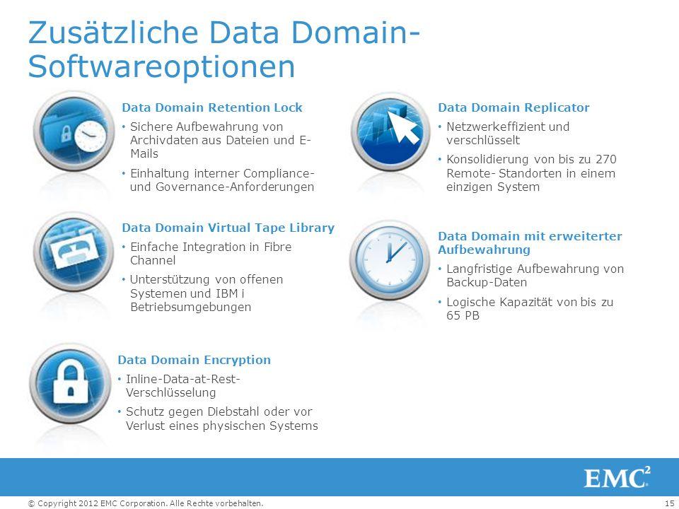 15© Copyright 2012 EMC Corporation. Alle Rechte vorbehalten. Data Domain Replicator Netzwerkeffizient und verschlüsselt Konsolidierung von bis zu 270
