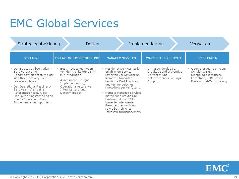 24© Copyright 2012 EMC Corporation. Alle Rechte vorbehalten. EMC Global Services StrategieentwicklungDesignImplementierungVerwalten BERATUNGTECHNOLOGI