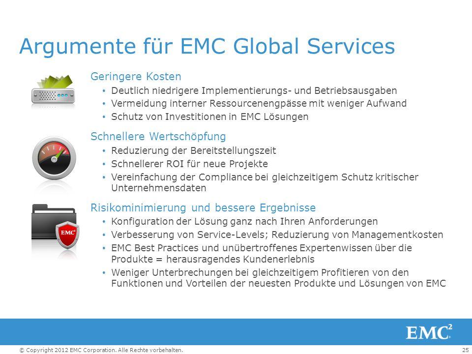 25© Copyright 2012 EMC Corporation. Alle Rechte vorbehalten. Argumente für EMC Global Services Geringere Kosten Deutlich niedrigere Implementierungs-