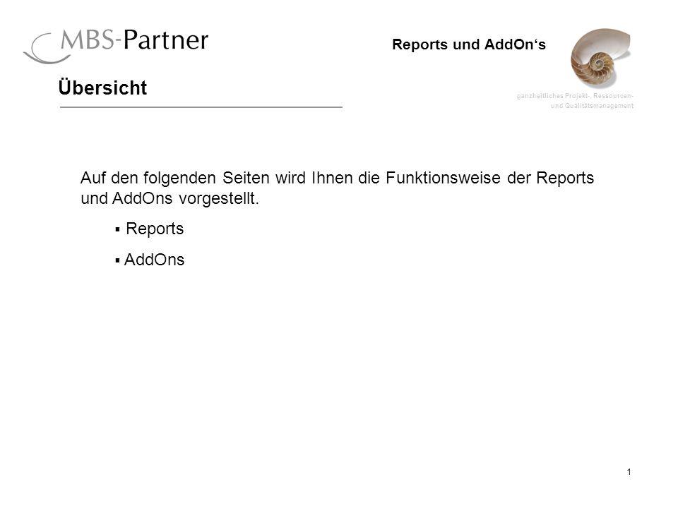 ganzheitliches Projekt-, Ressourcen- und Qualitätsmanagement 1 Reports und AddOns Auf den folgenden Seiten wird Ihnen die Funktionsweise der Reports und AddOns vorgestellt.