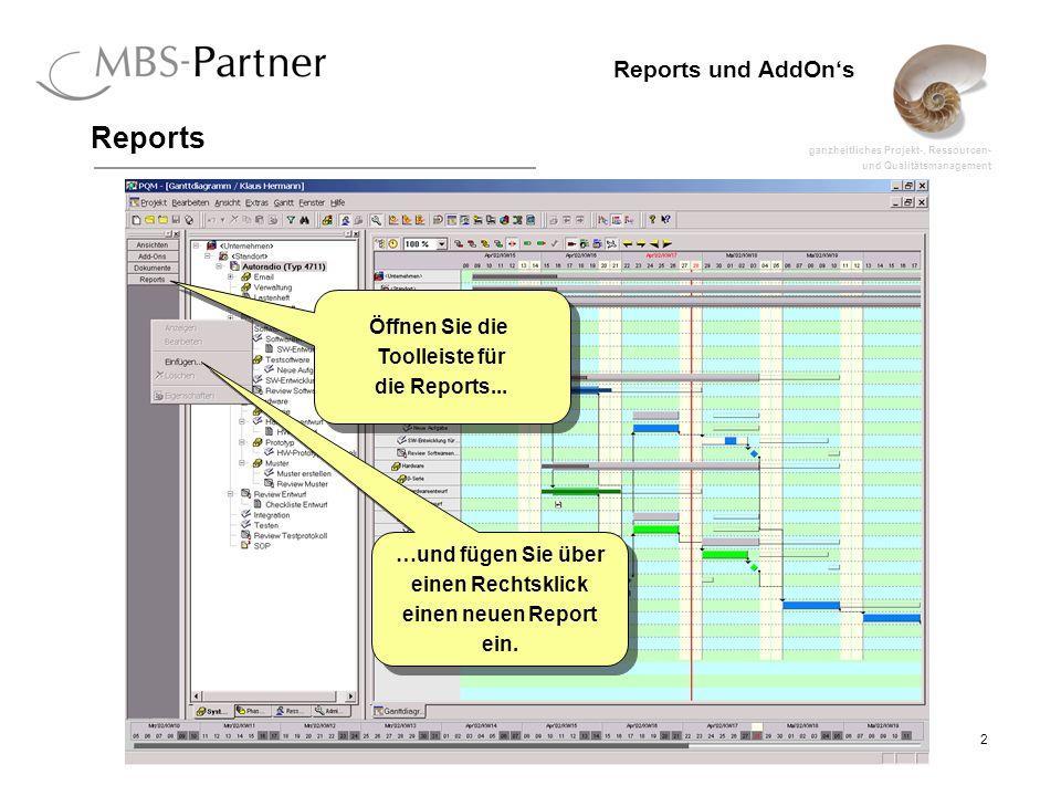 ganzheitliches Projekt-, Ressourcen- und Qualitätsmanagement 13 Reports und AddOns Reports erstellen Schauen wir uns den Report etwas näher an.