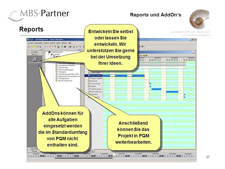 ganzheitliches Projekt-, Ressourcen- und Qualitätsmanagement 27 Reports und AddOns Reports Anschließend können Sie das Projekt in PQM weiterbearbeiten.