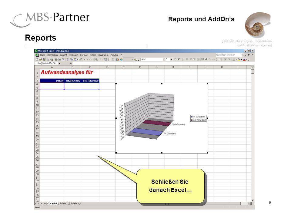 ganzheitliches Projekt-, Ressourcen- und Qualitätsmanagement 9 Reports und AddOns Reports Schließen Sie danach Excel… Schließen Sie danach Excel…