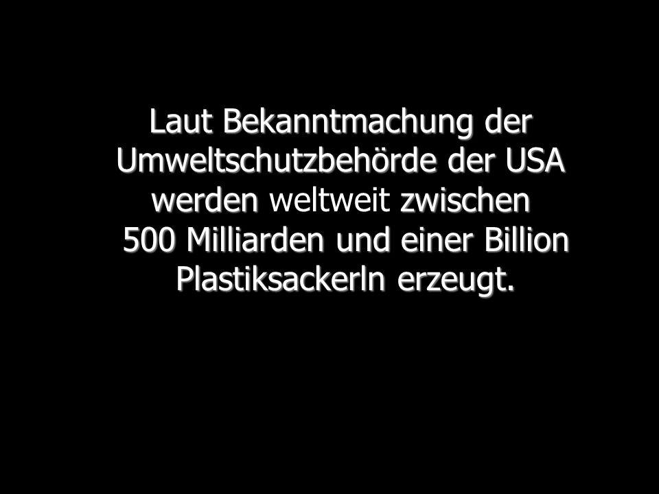 Laut Bekanntmachung der Umweltschutzbehörde der USA werden zwischen 500 Milliarden und einer Billion Plastiksackerln erzeugt.
