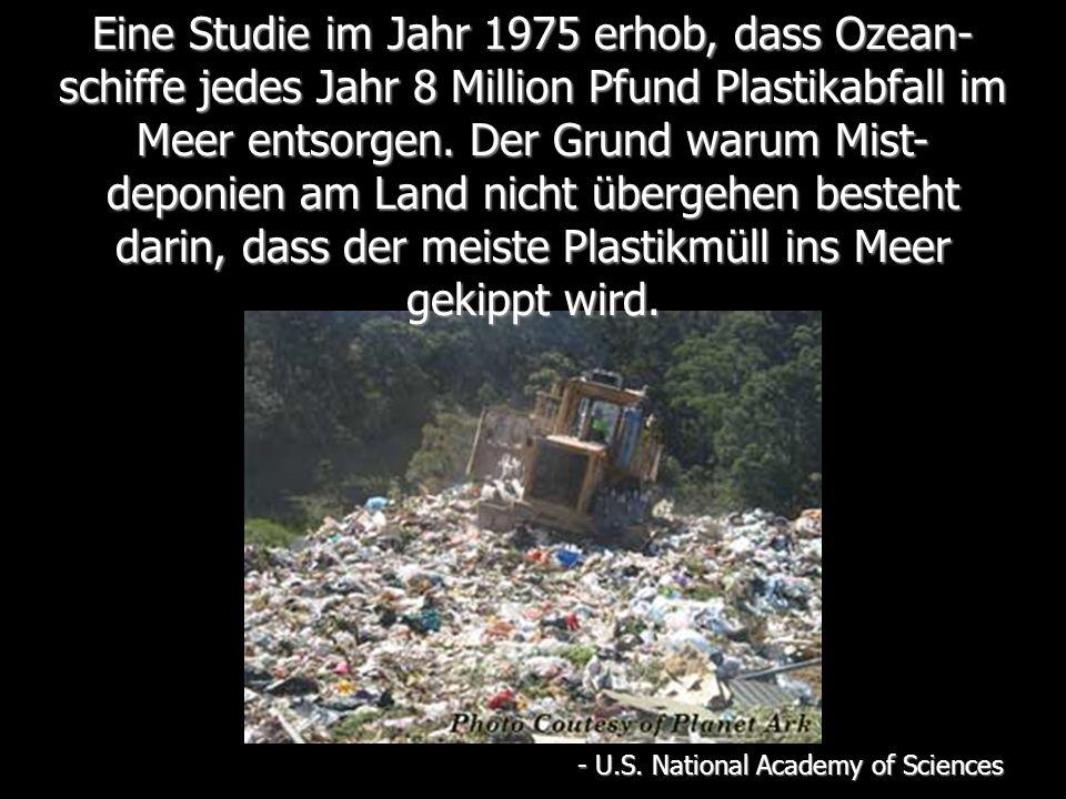 Eine Studie im Jahr 1975 erhob, dass Ozean- schiffe jedes Jahr 8 Million Pfund Plastikabfall im Meer entsorgen.