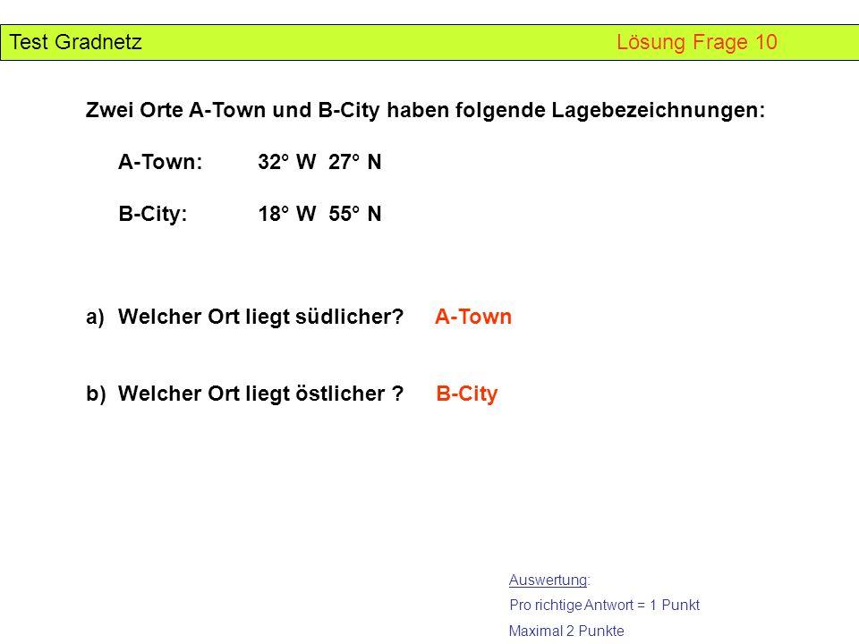 Test Gradnetz Lösung Frage 10 Auswertung: Pro richtige Antwort = 1 Punkt Maximal 2 Punkte Zwei Orte A-Town und B-City haben folgende Lagebezeichnungen
