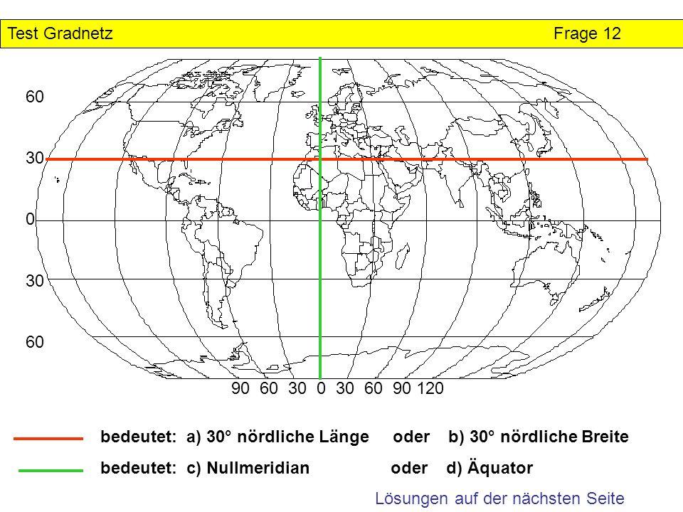 Test GradnetzFrage 12 Lösungen auf der nächsten Seite 60 30 0 30 60 90 60 30 0 30 60 90 120 bedeutet: a) 30° nördliche Länge oder b) 30° nördliche Bre