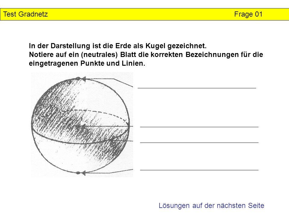 Test Gradnetz Lösung Frage 01 In der Darstellung ist die Erde als Kugel gezeichnet.