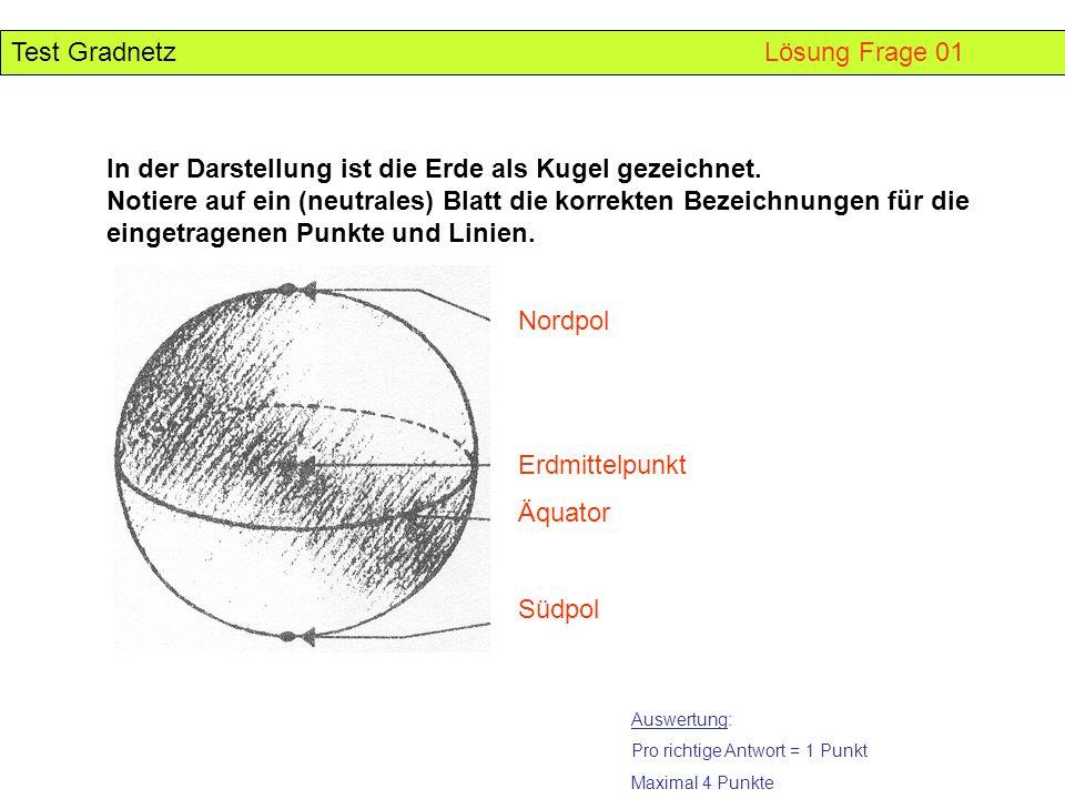 Test Gradnetz Lösung Frage 01 In der Darstellung ist die Erde als Kugel gezeichnet. Notiere auf ein (neutrales) Blatt die korrekten Bezeichnungen für